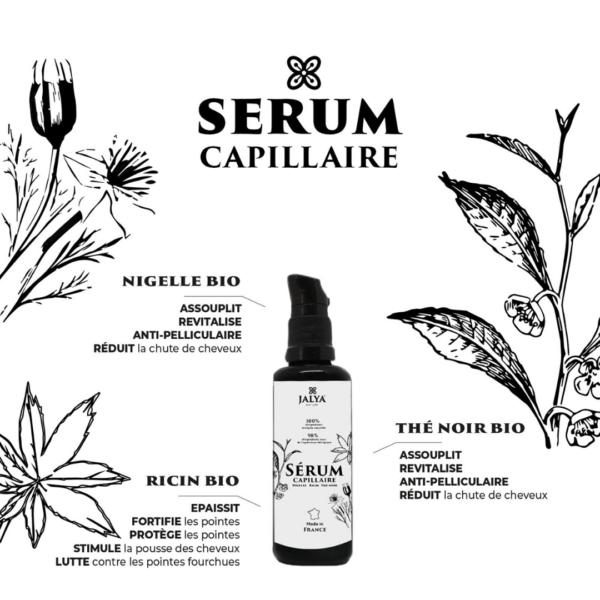 Sérum Capillaire Jalya Naturea base d'huile de Ricin, de Nigelle et de Thé Noir pour le soin des cheveux crépus, frisés et bouclés