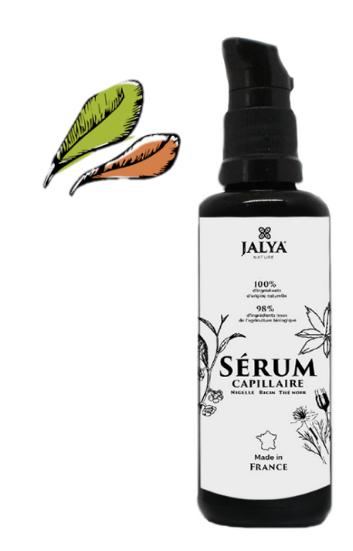sérum capillaire jalya nature à base de nigelle, de ricin et de thé noir bio pour prendre soin des cheveux crépus